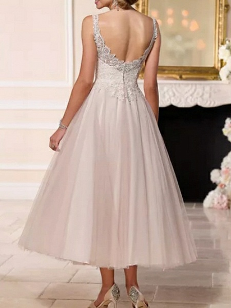 A-Line Wedding Dresses V Neck Ankle Length Lace Tulle Spaghetti Strap Vintage Backless_3