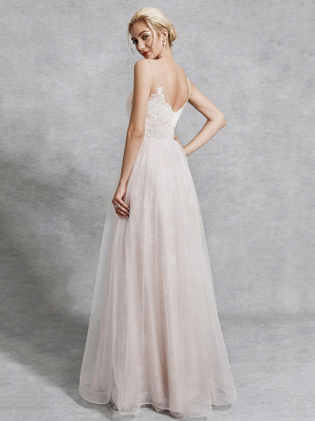 A-Line Wedding Dresses V Neck Floor Length Lace Satin Tulle Regular Straps_2