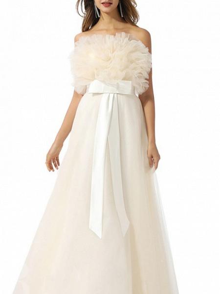 A-Line Wedding Dresses Strapless Floor Length Tulle Chiffon Over Satin Sleeveless Vintage_3