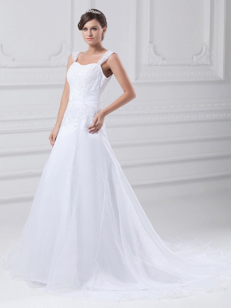 A-Line Wedding Dresses Square Neck Chapel Train Lace Organza Satin Regular Straps_2