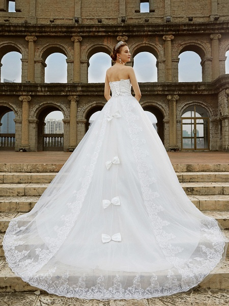 Ball Gown Wedding Dresses Strapless Sweep \ Brush Train Tulle Glitter Lace Strapless Country Sparkle & Shine Backless_2