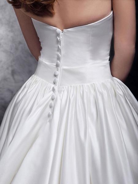 Princess Wedding Dresses Strapless Chapel Train Satin Sleeveless_9