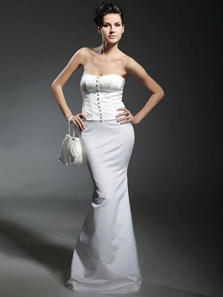 Mermaid \ Trumpet Wedding Dresses Strapless Sweetheart Neckline Floor Length Satin Long Sleeve_2