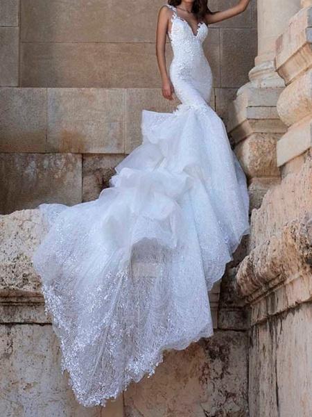Mermaid \ Trumpet V Neck Court Train Polyester Sleeveless Country Plus Size Wedding Dresses_2