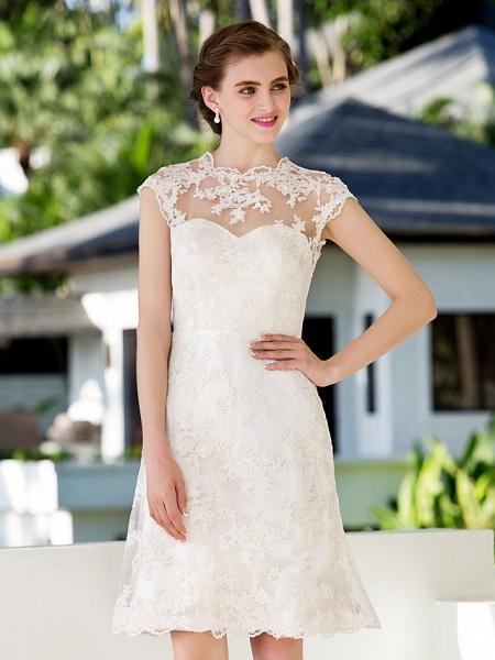 A-Line Sheath \ Column Wedding Dresses Jewel Neck Knee Length Floral Lace Cap Sleeve Vintage Little White Dress Illusion Detail Backless_5