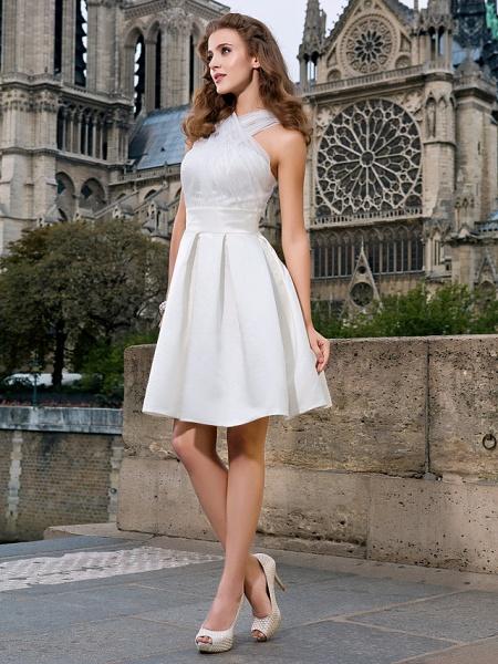 Ball Gown A-Line Wedding Dresses V Neck Knee Length Organza Satin Sleeveless Little White Dress_2