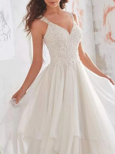 A-Line Wedding Dresses Sweetheart Neckline Sweep \ Brush Train Chiffon Lace Spaghetti Strap Sexy See-Through Illusion Detail Backless_3