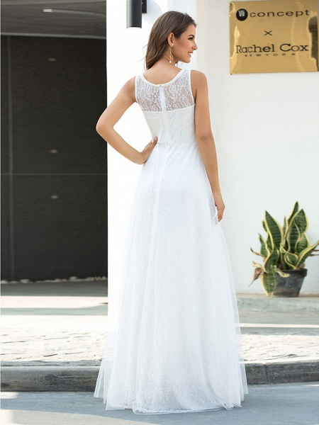 A-Line Wedding Dresses Jewel Neck Floor Length Lace Tulle Sleeveless Country Casual_2