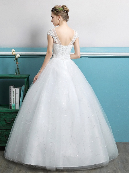 Ball Gown Wedding Dresses Jewel Neck Floor Length Lace Tulle Polyester Short Sleeve Romantic_4