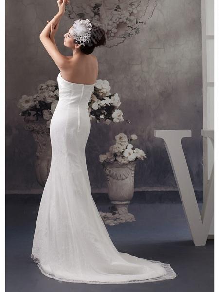 Mermaid \ Trumpet Wedding Dresses Strapless Court Train Lace Satin Strapless_3