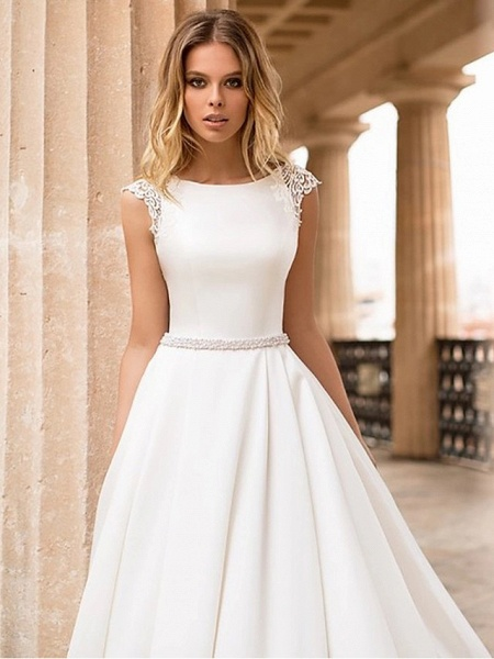 A-Line Wedding Dresses Bateau Neck Court Train Lace Polyester Cap Sleeve Country Simple Backless Elegant_3