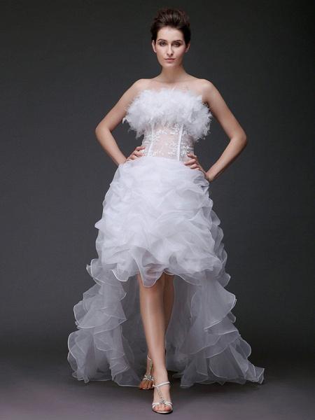 Ball Gown Strapless Sweep \ Brush Train Asymmetrical Organza Sleeveless Wedding Dresses_1