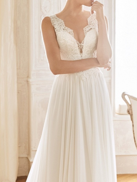 A-Line Wedding Dresses V Neck Sweep \ Brush Train Chiffon Lace Sleeveless Vintage Sexy Wedding Dress in Color See-Through Backless_4