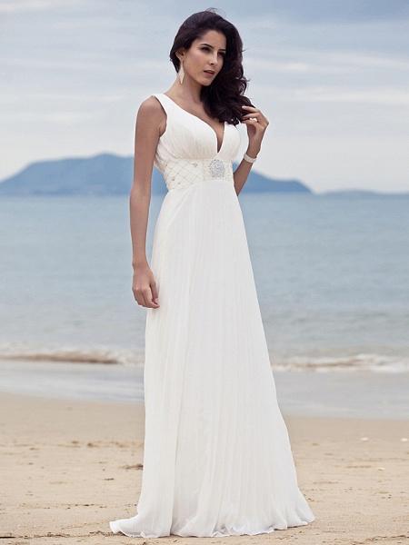 Sheath \ Column Wedding Dresses Straps V Neck Sweep \ Brush Train Floor Length Chiffon Sleeveless_2