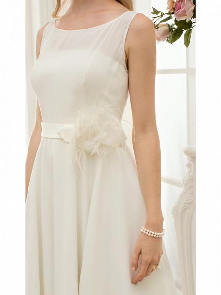 A-Line Wedding Dresses Bateau Neck Tea Length Chiffon Regular Straps Vintage Little White Dress 1950s_9