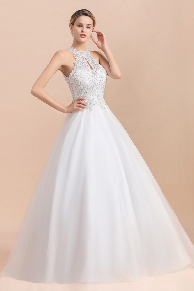 Halter Lace Appliques A-line Sequins Sleeveless Wedding Dress