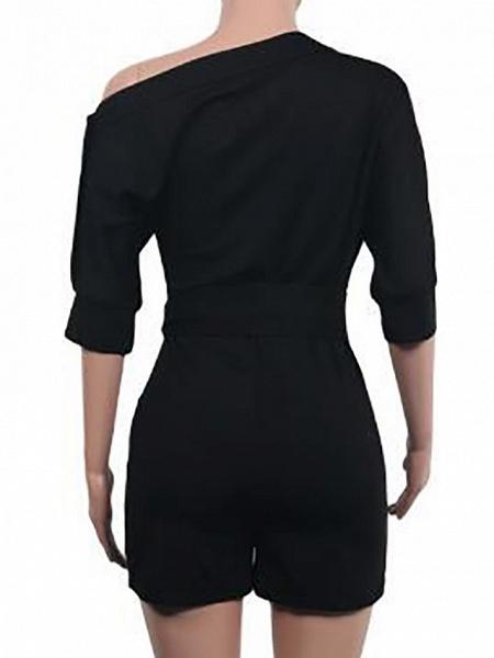 Women's Basic One Shoulder Black Wine White Wide Leg Romper_8