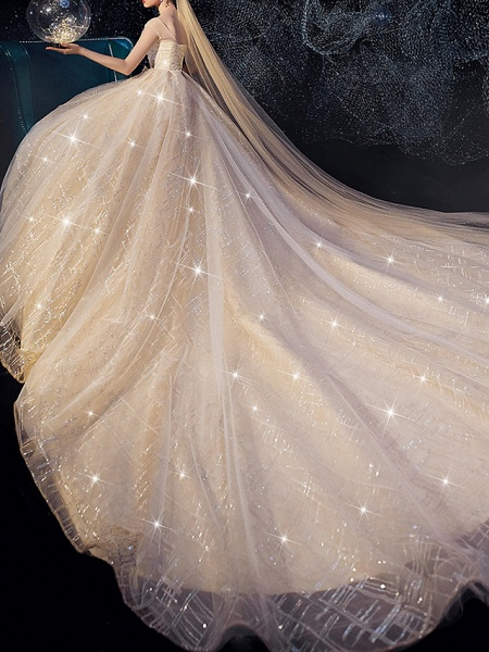 A-Line Wedding Dresses Jewel Neck Sweep \ Brush Train Lace Short Sleeve_3