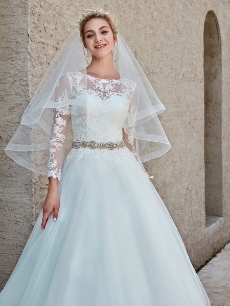 Ball Gown Wedding Dresses Bateau Neck Chapel Train Lace Tulle Long Sleeve Beautiful Back Illusion Sleeve_14