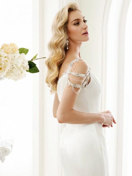 Mermaid \ Trumpet Wedding Dresses One Shoulder Sweep \ Brush Train Stretch Satin Regular Straps Simple Sexy Modern Elegant_6