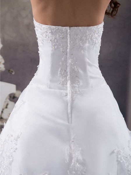 A-Line Strapless Chapel Train Lace Organza Satin Strapless Wedding Dresses_5