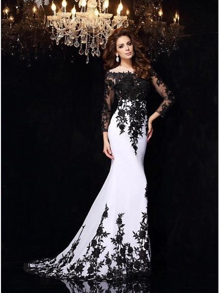 Mermaid \ Trumpet Wedding Dresses Bateau Neck Sweep \ Brush Train Lace Tulle Lace Over Satin Long Sleeve Sexy Black Illusion Sleeve_5