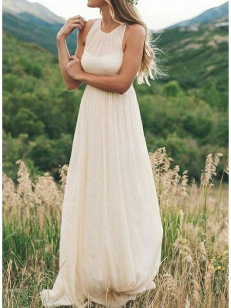 A-Line Wedding Dresses Jewel Neck Sweep \ Brush Train Chiffon Regular Straps Country Simple Casual Plus Size_1