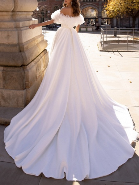 Ball Gown Wedding Dresses Off Shoulder Sweep \ Brush Train Satin Tulle Short Sleeve Formal_2