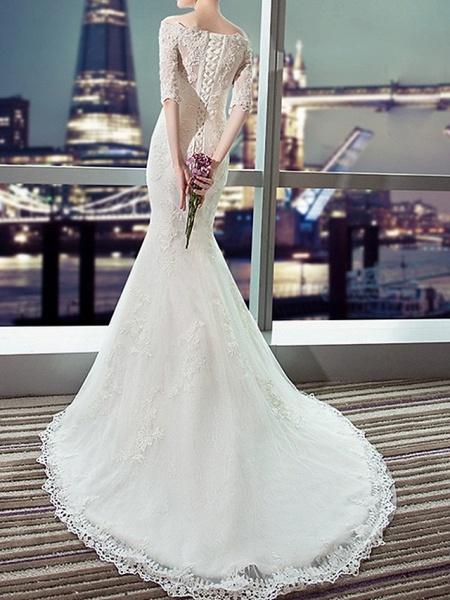Mermaid \ Trumpet Wedding Dresses Off Shoulder Sweep \ Brush Train Lace Half Sleeve Beach Illusion Sleeve_3