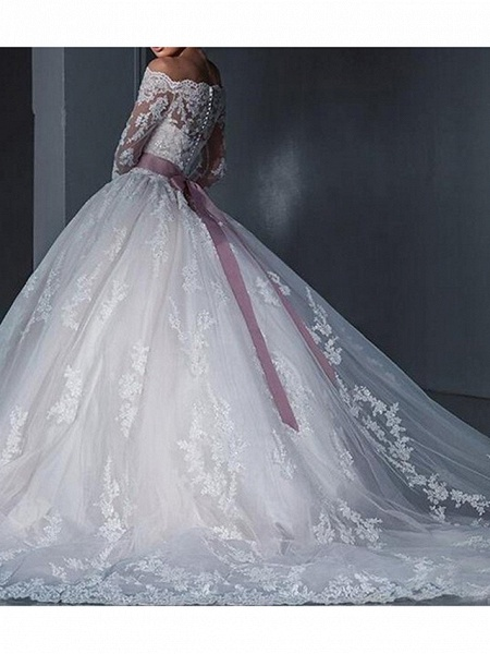 Ball Gown Wedding Dresses Off Shoulder Sweep \ Brush Train Lace Long Sleeve Glamorous See-Through Illusion Sleeve_2