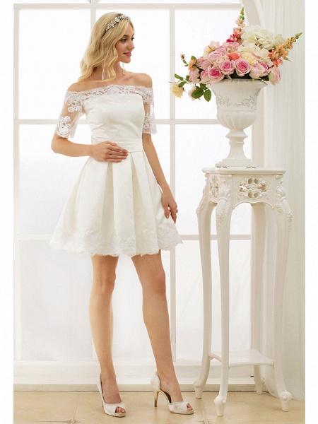 A-Line Wedding Dresses Off Shoulder Short \ Mini Satin Half Sleeve Formal Casual Illusion Detail_5