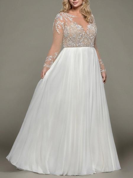 A-Line Wedding Dresses Bateau Neck Floor Length Satin Tulle Long Sleeve Romantic Plus Size Illusion Sleeve_1