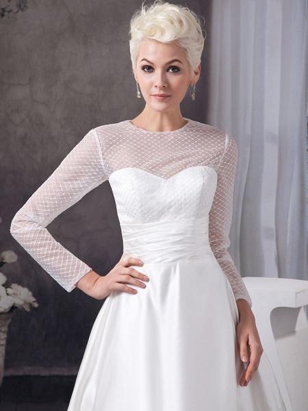 A-Line Wedding Dresses Jewel Neck Court Train Satin Tulle 3\4 Length Sleeve Illusion Sleeve_5