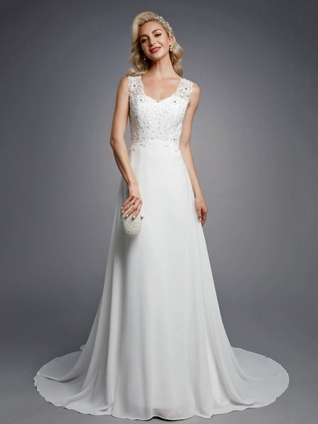 A-Line Wedding Dresses V Neck Floor Length Chiffon Lace Regular Straps Sexy_1