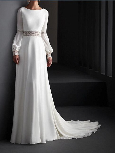 A-Line Wedding Dresses Jewel Neck Sweep \ Brush Train Lace Satin Long Sleeve Country Plus Size_1