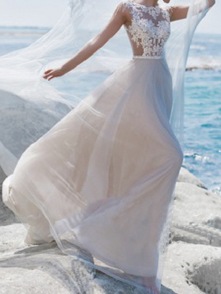 A-Line Wedding Dresses Jewel Neck Sweep \ Brush Train Lace Tulle Short Sleeve Beach Sexy See-Through_1