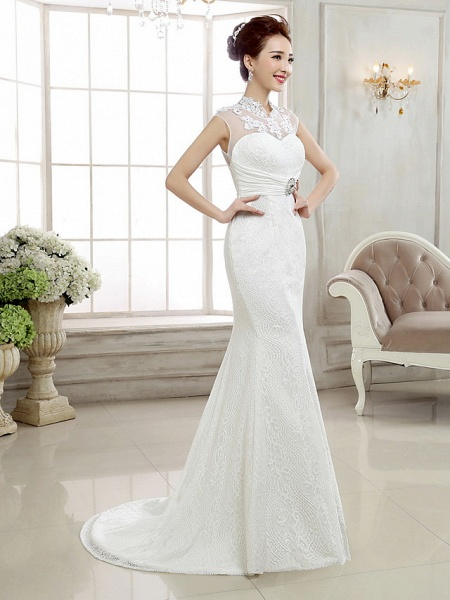 Mermaid \ Trumpet Wedding Dresses High Neck Sweep \ Brush Train Lace Cap Sleeve Sexy Illusion Detail Backless_4