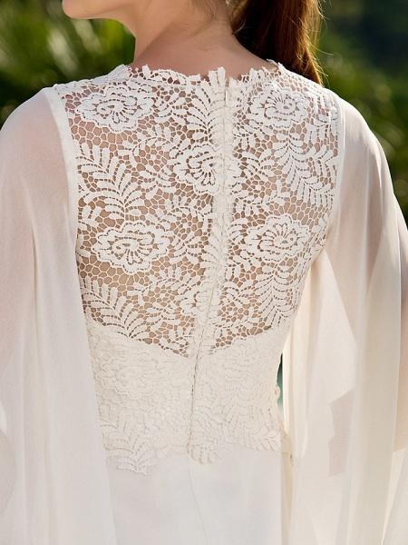 Sheath \ Column Wedding Dresses Jewel Neck Sweep \ Brush Train Lace Georgette Long Sleeve Beach Illusion Detail Backless_8