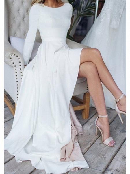 A-Line Wedding Dresses Jewel Neck Sweep \ Brush Train Chiffon Over Satin Long Sleeve Simple Modern_1