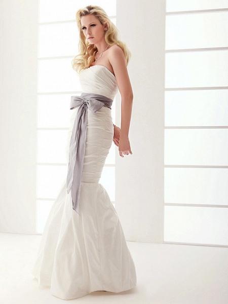 Mermaid \ Trumpet Wedding Dresses Strapless Floor Length Taffeta Sleeveless Wedding Dress in Color_5