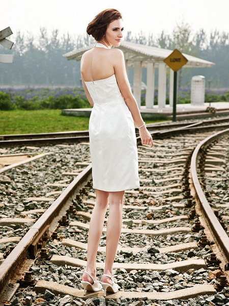Sheath \ Column Wedding Dresses Halter Neck Short \ Mini Satin Regular Straps Little White Dress_2