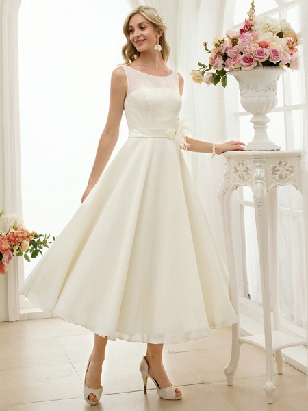 A-Line Wedding Dresses Bateau Neck Tea Length Chiffon Regular Straps Vintage Little White Dress 1950s_6