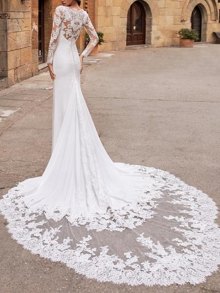Mermaid \ Trumpet V Neck Court Train Lace Stretch Satin Long Sleeve Plus Size Illusion Sleeve Wedding Dresses_2