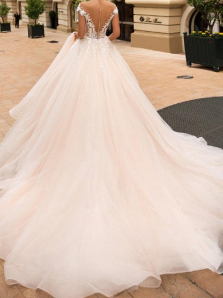 Ball Gown A-Line Off Shoulder Court Train Lace Satin Tulle Short Sleeve Vintage Sexy Wedding Dress in Color See-Through Backless Wedding Dresses_3