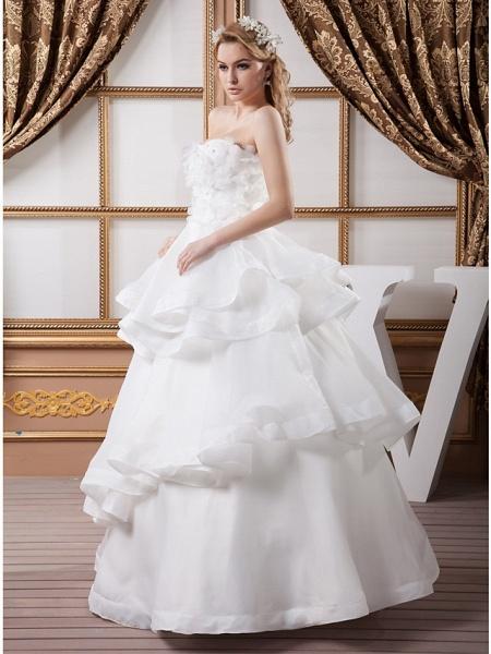 Ball Gown Strapless Floor Length Organza Satin Strapless Plus Size Wedding Dresses_3
