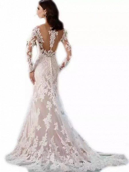 Mermaid \ Trumpet Scoop Neck Chapel Train Lace Tulle Lace Over Satin Long Sleeve Formal Sexy Beautiful Back Illusion Sleeve Wedding Dresses_2