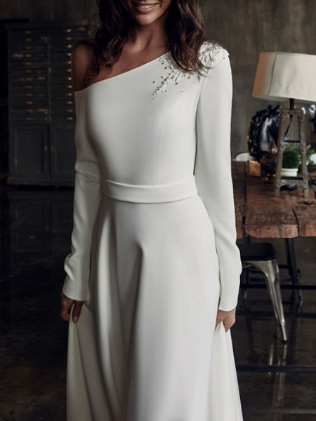 A-Line Wedding Dresses One Shoulder Sweep \ Brush Train Stretch Satin Long Sleeve Country Plus Size_2