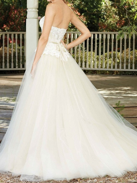 A-Line Wedding Dresses Sweetheart Neckline Court Train Tulle Sleeveless Country Wedding Dress in Color_2