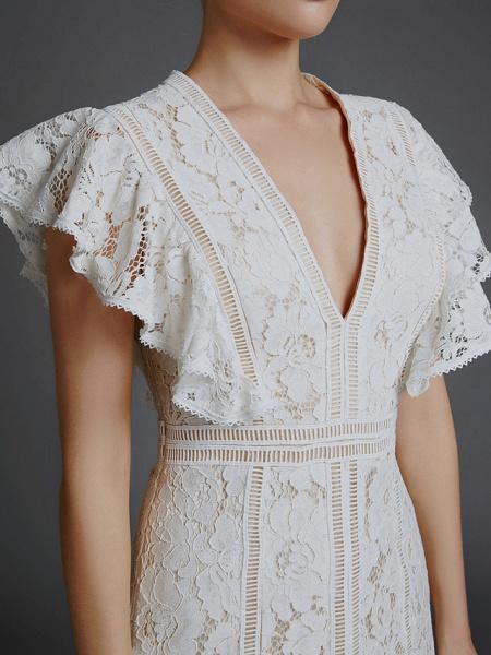 A-Line V Neck Sweep \ Brush Train Lace Sleeveless Boho Wedding Dresses_8