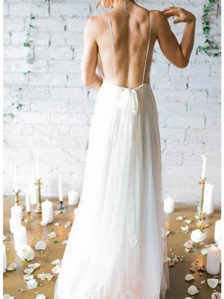 A-Line Wedding Dresses V Neck Spaghetti Strap Sweep \ Brush Train Chiffon Sleeveless Simple Beach Backless_2